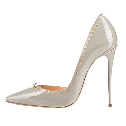 Women's Shoes High Grey Heels Pumps toe Rivets Zesvae Pointed EKS 6dqwZ88