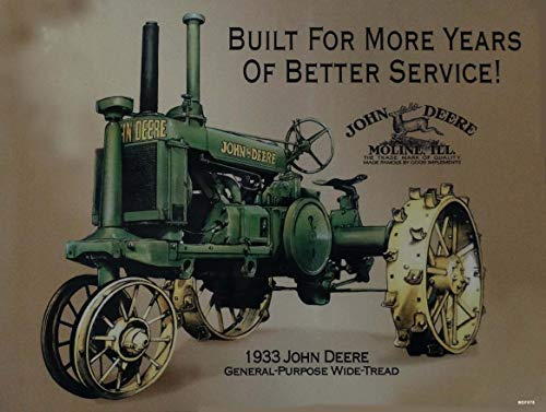 - American Collectibles 1933 John Deere General Purpose Wide Tread Country Tractor Metal Sign