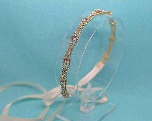 Timeless Gold Tone Ribbon Tie Back Wedding Headband by The Ivory Willow