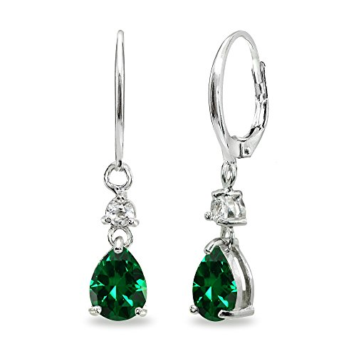 (Sterling Silver Simulated Emerald & White Topaz 8x6mm Teardrop Dangle Leverback)