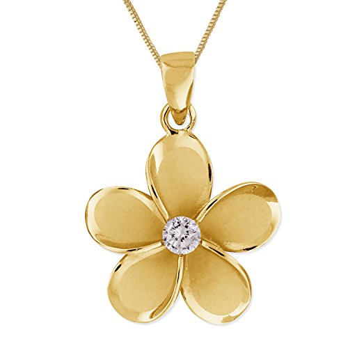 14kt Yellow Gold Plated Sterling Silver 19mm Plumeria Pendant Necklace, 16+2