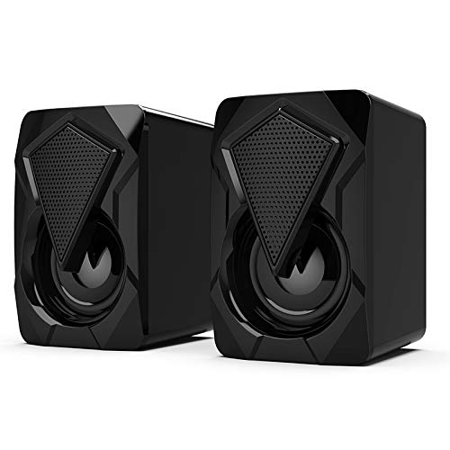 QINQI USB Wired Computer Speakers, Bass Stereo Subwoofer, Colorful LED RGB Lights, Compatible with Desktops, Laptops…