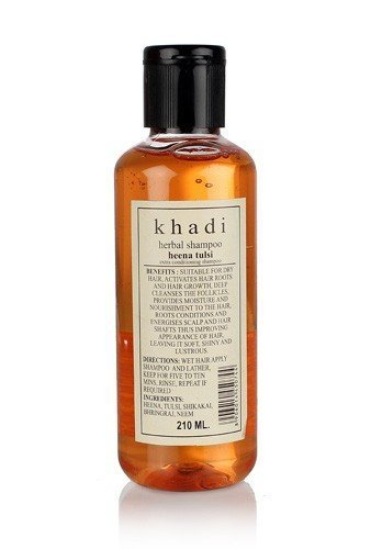 Khadi Natural Herbal Ayurvedic Henna Tulsi Conditioning Shampoo for all Hair Types SLS and Paraben Free (210 ml)