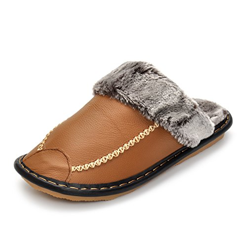 Soft Warm Winter Men Slippers With Plush Fur Genuine Leather Shoes Slip-Resistant Indoor & Outdoor Warm Slippers Khaki Genuine Leather Slip