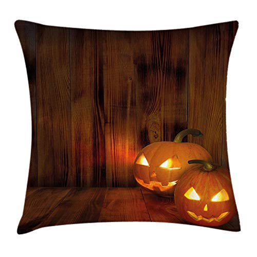 MHKLTA Pumpkin Throw Pillow Cushion Cover, Jack o Lanterns Scary Halloween Photograph in a Wooden Interior Fall Themed Image, Decorative Square Accent Pillow Case, 18 X 18 inches, Orange -