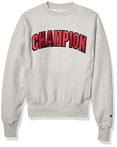 Champion LIFE Men's Reverse Weave Crew-Block Champion Arch, Oxford Gray, 2X Large (Heavyweight Dub Champion Return Of The Champion)