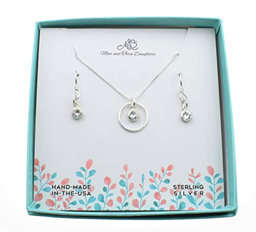 Diamond Accented Circle Pendant - Woman's April Birthstone Necklace and Earring Gift Set. Sterling Silver Circle Accented with Swarovski Birthstone Crystals. Gift for Her