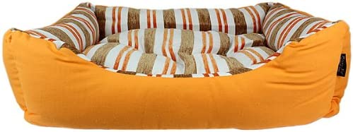 Parisian Pet Canvas Striped Pet Bed, Orange