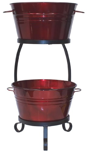 HIT 8020E GA Galvanized Heavy Gauge Steel Beverage Tub with Iron Stand, 13.5 by 30-Inch, Glazed ()