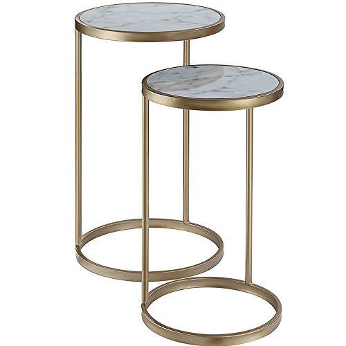 Marble Top End Tables Set of 2 Nesting End Tables White Marble Top Side Table Faux Marble Topped Table Accent Table Gold Metallic Base Sturdy Tabletop Minimal Modern Contemporary & eBook by NAKSHOP