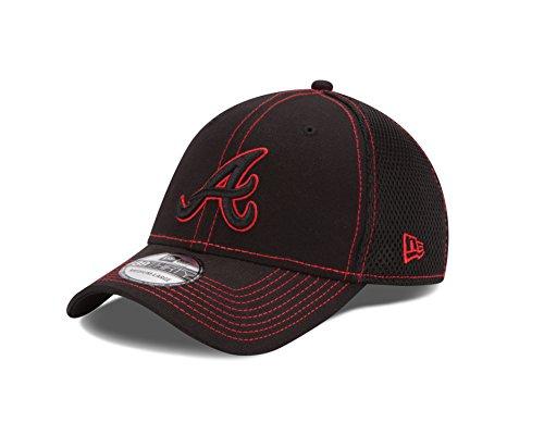 MLB Atlanta Braves Black Neo 39Thirty Flex Fit Cap, Large/X-Large