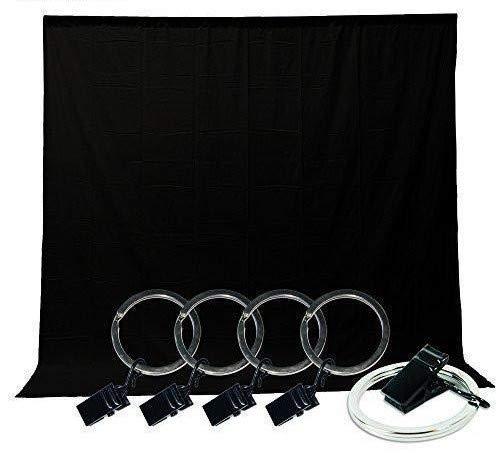 LimoStudio Black Muslin Backdrop Background Screen [5x10 ft. ] with Backdrop Holder Kit, Photo Video Studio, AGG1337 ()