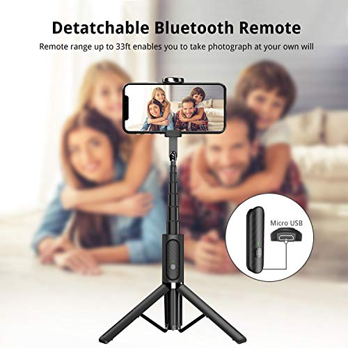 ATUMTEK Bluetooth Selfie Stick Tripod, Mini Extendable 3 in 1 Aluminum Selfie Stick with Wireless Remote and Tripod… 4