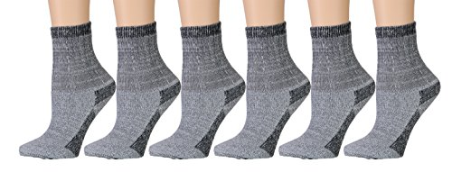6 Pairs Merino Wool Socks for Women, Hunting Hiking Backpacking Thermal Sock by WSD (Gray)