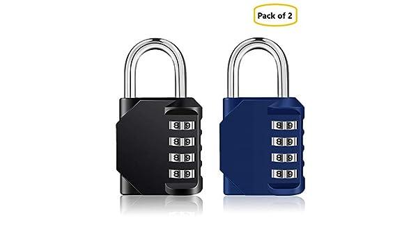 Paquete de 2 Candado de seguridad con bloqueo de combinaci/ón Negro y azul Dial suave de 4 d/ígitos de IVALLEY
