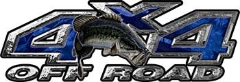 Reflective Largemouth Bass Fishing Edition 4X4 Off Road Atv Truck Or Suv Decals In Blue Camouflage
