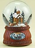 Set of 2 Brown and Clear Animated and Musical Church with Sleigh Ride Christmas Domes 6.5''
