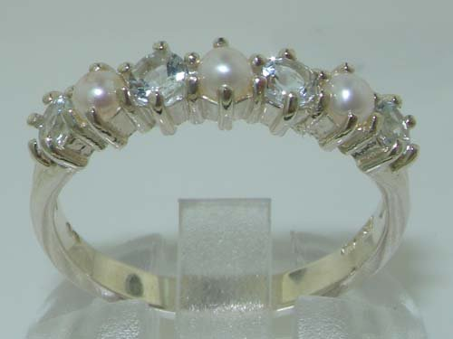 14k White Gold Cultured Pearl & Aquamarine Womans Eternity Ring Sizes 4 to 12 Available