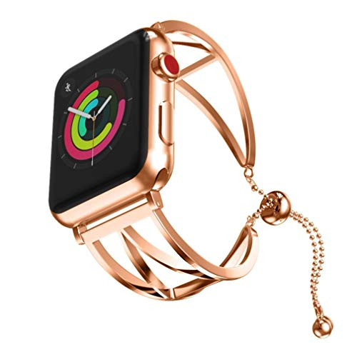 Look Cuff Watch - SUKEQ for Apple Watch Band 38mm, Newest Dressy Bracelet Stainless Steel iWatch Replacement Strap Sport Wristband for Apple iWatch Series 1/2/3 38mm Accessories with Pendant and Tassel (Rose Gold)