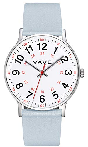 VAVC Nurse Watch for Doctors,Students and Medical Professionals with Second Hand.Women's Scrub Analog Quartz Wrist Watch with Easy to Read Dial ()
