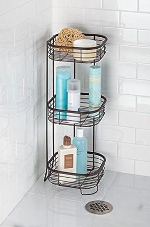 Duschgel ideale Aufbewahrung von Shampoo Farbe: Mattschwarz mDesign Eckregal Bad und Dusche freistehend Handt/ücher auf drei Ablagen rostfrei