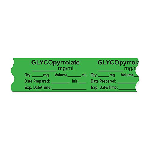 PDC Healthcare AN-2-9 Anesthesia Tape with Exp. Date, Time, and Initial, Removable, ''GLYCOpyrrolate mg/mL'', 1'' Core, 3/4'' x 500'', 333 Imprints, 500 Inches per Roll, Light Green (Pack of 500) by PDC Healthcare