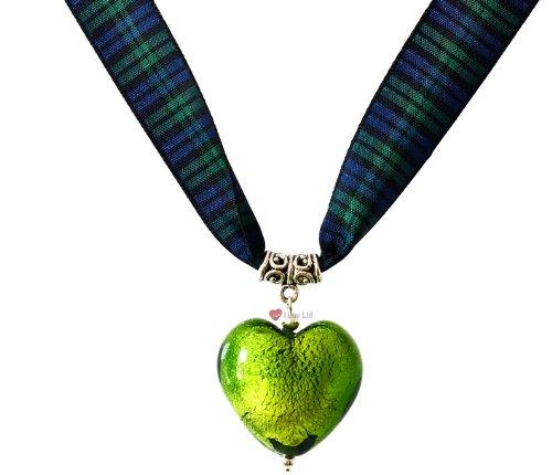 Emerald Heart Necklace - Black Watch Tartan ()