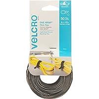 VELCRO Marca ONE WRAP Corbatas finas | Fuerte y reutilizable | Perfecto para sujetar cables y cables de organización | Negro y gris, 8 x 1/2 pulgadas | 25 Negro + 25 Corbatas Grises