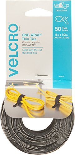 - VELCRO Brand ONE WRAP Thin Ties | Strong & Reusable | Perfect for Fastening Wires & Organizing Cords | Black & Gray, 8 x 1/2-Inch | 25 Black + 25 Gray Ties
