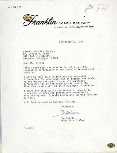 Coach Rv Motorhome (1970 Franklin Coach RV Motorhome Factory Letter Nappanee Indiana)