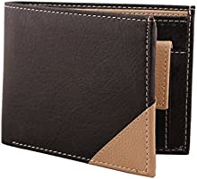 Mtuggar Black & Beige Textured Grainy Card Coin Pocket Men's Wallet-1501_Bb