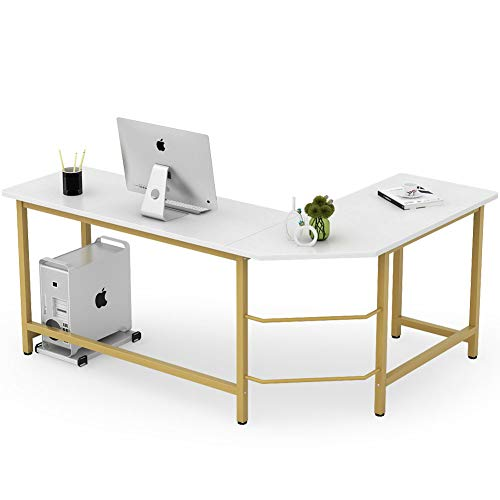 Tribesigns Modern L Shaped Desk, Corner Computer Office Desk PC Laptop Gaming Table Workstation for Home Office, White & Gold
