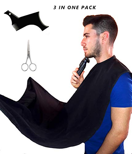 Beard Bib & Shaping Comb & Scissors - Complete Beard Care Kit In 1 Pack - Easy Using by Attach Mirror With Suction Cups - Waterproof Cape (Black)