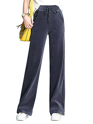 Corduroy Leg Straight Blues (Women's Drawstring Elastic Waist Straight Wide Leg Fall/Winter Casual Corduroy Pants Blue Tag 2XL-US 12)