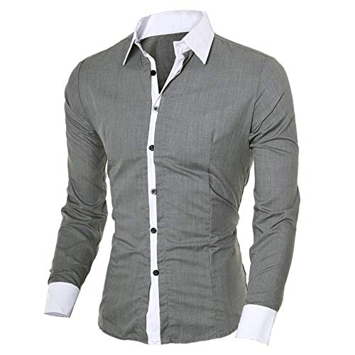 GOVOW Men's Casual Shirts Long Sleeve Personality Slim Top Gray