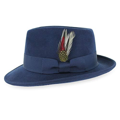 132d652585b Belfry Gangster 100% Wool Stain-Resistant Crushable Fedora in 5 Sizes and 2  Colors