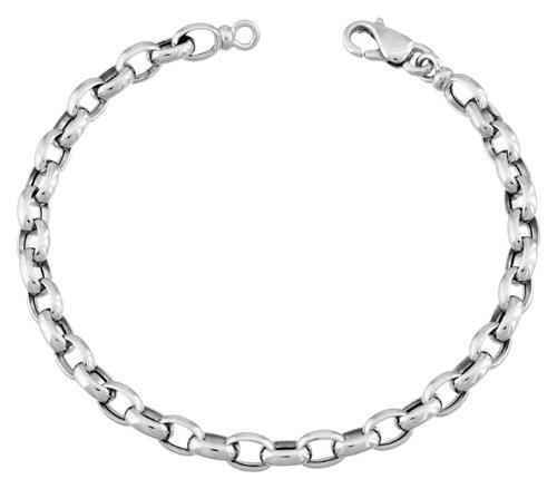 Orleo - REF5283BB : Bracelet Femme Or 18K blanc - Maille Jaseron 18 cm