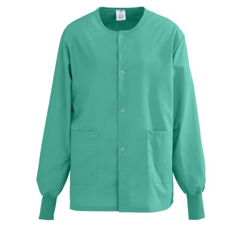 Medline PerforMAX Snap-Front Warm-Up Scrub Jacket, Small, Jade Green