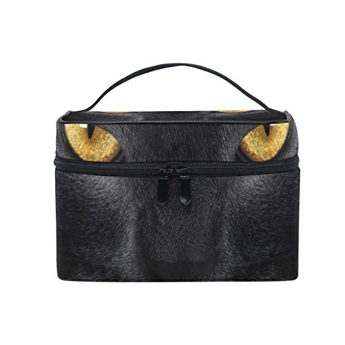 Makeup Cosmetic Bag Black Cat Yellow Eye Portable Storage with Zipper