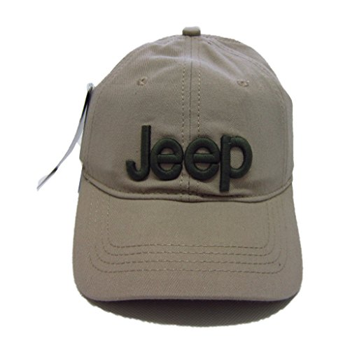 Jeep Unisex Solid Color Adjustable Cutton Baseball Cap Outdoor Sunhat with Front Logo (Beige)