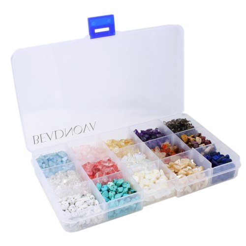 - BEADNOVA 5mm-7mm Chips Gemstone Crystal Pieces Irregular Shaped Loose Beads for Jewelry Making Box Set Value Pack