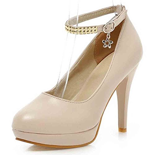 Easemax Womens Graceful Round Toe Low Cut Buckled Ankle Strap Platform High Stiletto Heel Pumps Shoes Beige OxYGHTuBr1