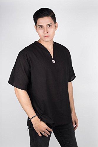 Cotone Sleeve T Lofbaz Top Collo Spiaggia V Con A Nero 100 Uomo Tailandese shirt Short WpFqw0xF4f