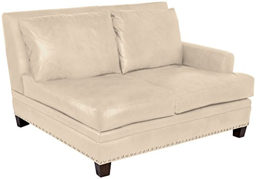 Omnia Leather Glendora Right Arm 2 Cushion Loveseat in Leather, with Nail Head, Softstations White Winter