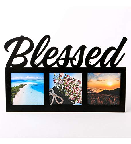 Frame Blessed - Fashioncraft Blessed Metal 3 Opening 3 x 3 Wall Photo Frame - Velvet Back - 6.75 x 10.25 inch - Hang or Stand - Home Decor Accents