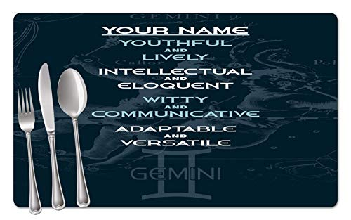 BRGiftShop Personalized Zodiac Sign Custom Name Gemini May22-Jun21 Set of 4 Table Placemats