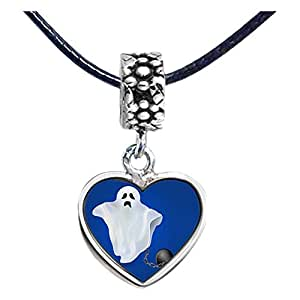 Chicforest Silver Plated angry Halloween ghost Photo Flower Head Dangle Heart Charm Beads Fits Pandora Charms