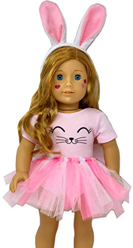 Genius Dolls Bunny Doll Clothes. Fits 18 inch Dolls Like Our Generation Doll My Life Doll Adora and American Girl Doll. Accessories, Outfits Handmade| Bunny Ears, Tutu with pom pom -
