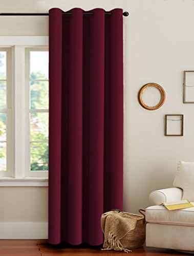 H.Versailtex Thermal Insulated Blackout Ultra Soft Elegant Window Curtains for Bedroom,Christmas Deals Curtain Panels,Antique Grommet-52″W by 84″L-Burgundy Red
