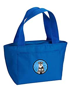 Caroline's Treasures KJ1228BU-8808 Schnauzer Zippered Insulated School Washable and Stylish Lunch Bag Cooler, Large, Blue